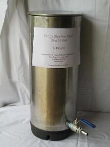 18 litre bench filter - ball valve -hose tail